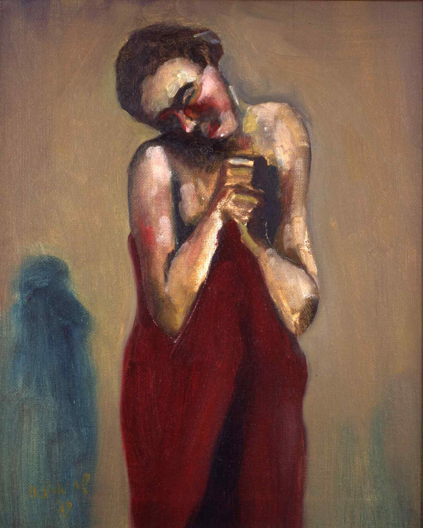 Woman Wrapped in Red