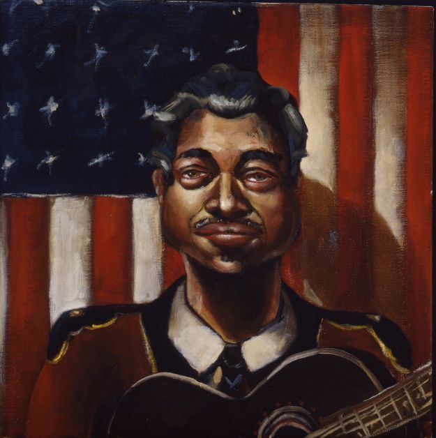 Musician in Front of an American Flag